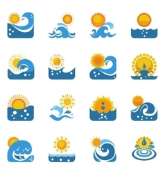 Blue wave with sun icons set vector