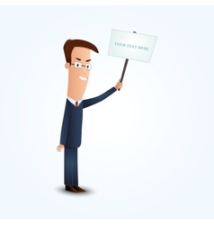 Young business man holding signboard vector