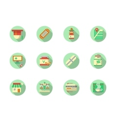 Pharmaceutical products round color icons vector