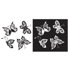 Set of silhouette butterflies collection vector