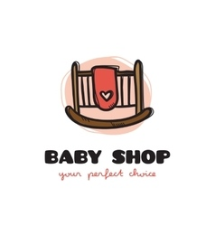Funny doodle style baby bed logo sketchy vector