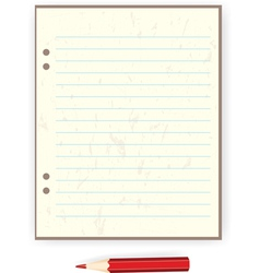 Sheet of paper and a red pencil vector
