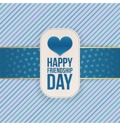 Friendship day greeting tag with festive ribbon vector