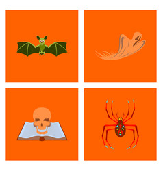 Assembly flat bat ghost book skull spider vector