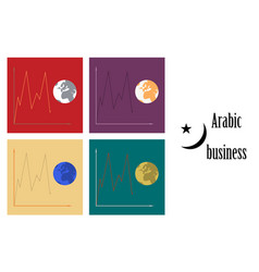 Assembly of flat icons on theme arabic business vector