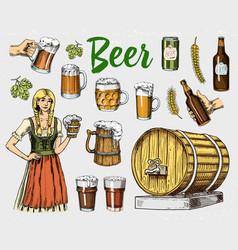 beer glass mug or bottle wooden barrels vector image vector image