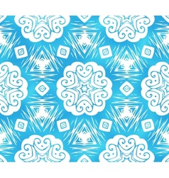 Blue abstract snowflakes seamless pattern vector image
