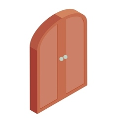 Brown double door icon cartoon style vector