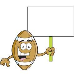 Cartoon football holding a sign vector image vector image