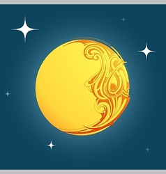 Decorative moon shape ornament vector