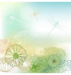 Flower background sketch with dragonfly vector image