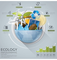 Global ecology and energy infographic with round vector