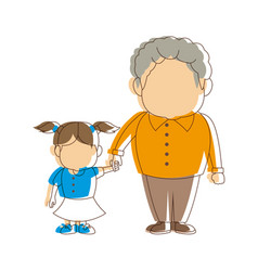 Grandfather and girl holding hands together fun vector