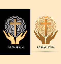 Hands holding cross with light vector