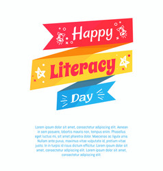 Happy literacy day poster on blue background text vector
