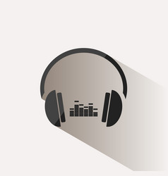 Headphones with music icon on beige background vector