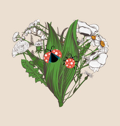 heart made of hand-drawn flowers and cute ladybugs vector image vector image