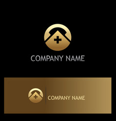 Medic hospital phone icon gold logo vector