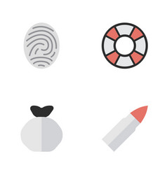 Set of simple criminal icons elements moneybox vector