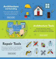 set of three horizontal architecture building vector image vector image