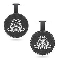 Set of two elegant gray vip dice with white vector