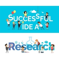 Successful Idea Research Banner Flat Design vector image vector image