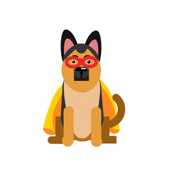 superhero dog sheepdog wearing an orange cape vector image