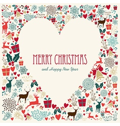 Vintage merry christmas love heart card vector