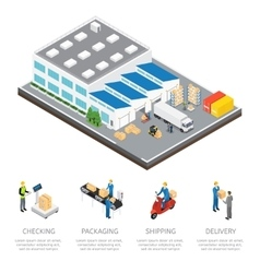 Warehouse isometric colored composition vector