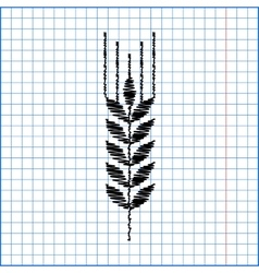 Wheat icon with pen effect on paper vector