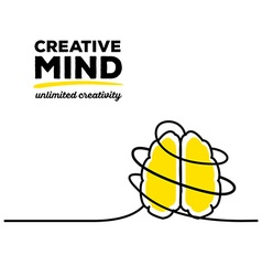 Yellow color brain with black wire and te vector