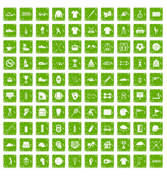 100 sport club icons set grunge green vector image