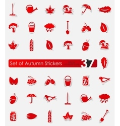 Set of autumn stickers vector