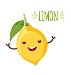 Happy cartoon lemon vector