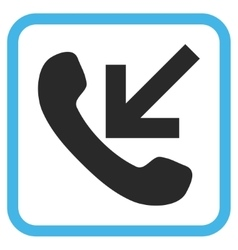 Incoming call icon in a frame vector