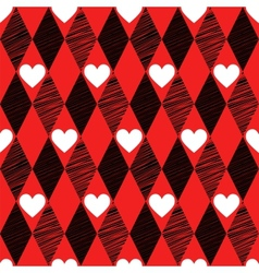 Love seamless background with rhombus and hearts vector image