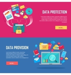 Set of data protection and provision web banner vector