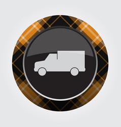 button with orange black tartan - van car icon vector image