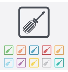 Screwdriver tool sign icon fix it symbol vector