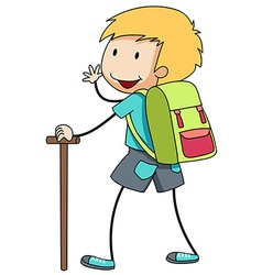 Boy with backpack going hiking vector