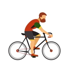 Man with beard ride by road bicycle cycling sport vector
