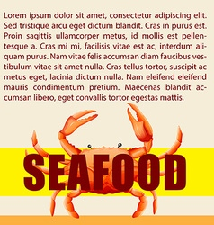 Seafood and text design vector