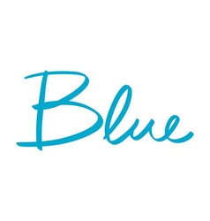 Hand-written name of the color blue vector