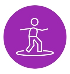 Male surfer riding on surfboard line icon vector