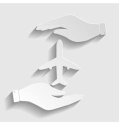 Airplane sign paper style icon vector