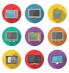 Tv icons in flat design style vector