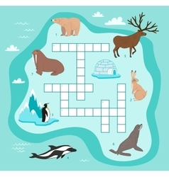 Animals crossword education game for children vector image