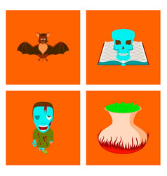 Assembly flat spider bat book skull zombie men vector