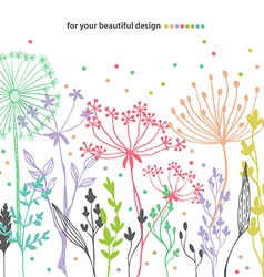 Beautiful color grass silhouette vector image