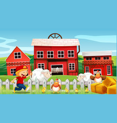Boy and farm animals on the farm vector